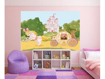 Bilderdepot24 Deco-Panel, selbstklebende Fototapete - Kinderbild - Pferdekutsche mit Schloss - Märchenkutsche, bunt, Farbig