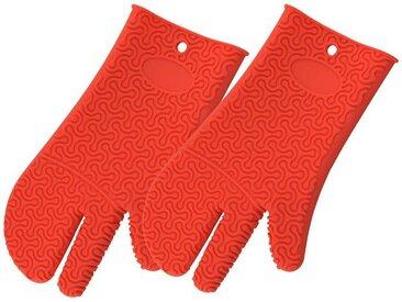 Kochblume Topfhandschuhe »Silikon Handschuh«, (Spar-Set, 2-tlg), Hitzebeständig bis 230°, rot, rot