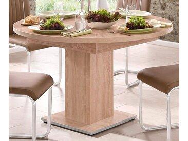 Esstisch, mit Auzugsfunktion in 2 Größen, natur, Mittelauszug mit Einlegeplatte, eiche sägerau