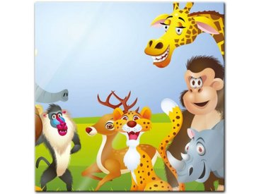 Bilderdepot24 Glasbild, Glasbild - Kinderbild Tiere Cartoon V