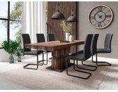 Homexperts Säulen-Esstisch »Marley Az«, ausziehbar, in 2 Größen (140 + 160), braun, old wood/grau