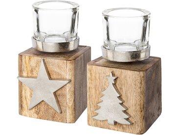 Teelichthalter »Tannenbaum und Stern« (Set, 2 Stück), auf Holzbase, Höhe ca. 13 cm