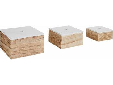 Zeller Present Aufbewahrungsbox, 3er Set, Holz, weiß/natur