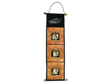 Guru-Shop Wandteppich »Brokat Wandtasche mit 3 Fächern aus Thailand -..«, Höhe 80 mm, orange, orange-mehrfarbig