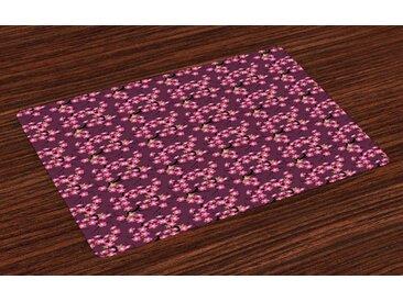 Abakuhaus Platzset, »Waschbare Stoff Esszimmer Küche Tischdekorations Digitaldruck«, (4-teilig, 4 Teilig-St., Set aus 4x), Kirschblüte April in Asien