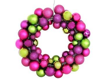Giftcompany Adventskranz »Gift-Company Shanghai Kranz pink-grünen Glitter-We«, Vollkranz (vorne & hinten)