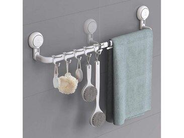 Ulinek Handtuchhalter, Verstellbarer Handtuchhalter ohne Bohren mit 5 abnehmbaren Handtuchhaken