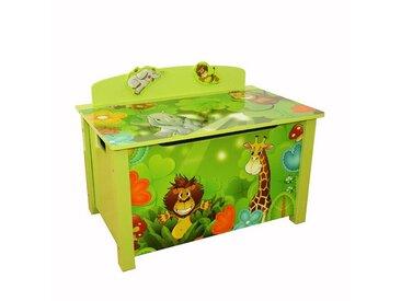 Homestyle4u Spielzeugtruhe, Spielzeugkiste Kinder Spielkiste *Dschungel*, grün, grün