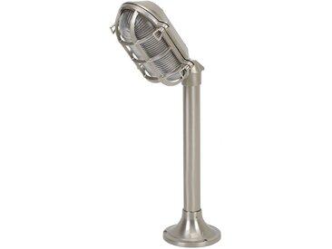 Licht-Erlebnisse Sockelleuchte »SKIATHOS«, Wegeleuchte Echt Messing Nickel maritim Gartenlampe Terrasse Lampe