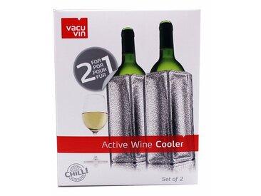 VACUVIN Weinflaschenhalter »2er Set Aktiv Flaschenkühler Weinkühler silber«