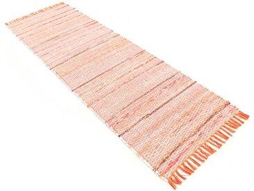 carpetfine Läufer »Kelim Chindi«, rechteckig, Höhe 6 mm, mit Fransen, orange, orange