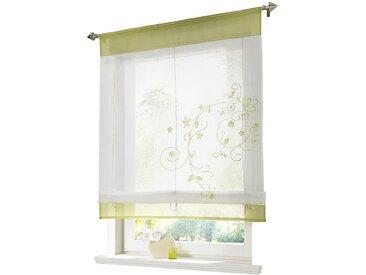 i@home Raffrollo »Bestickt Raffgardine Vorhang Gardine Fenstervorhang Scheibengardinen«, mit Schlaufen, grün, Grün