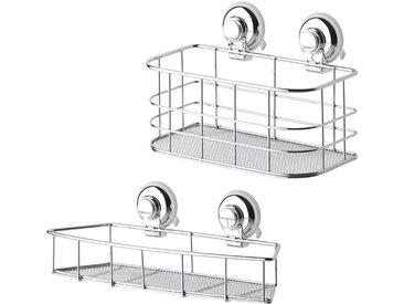 GSW Badaccessoires-Sets »Aufbewahrung HOOKIE System® 2-teilig«, Saughaken an der gewünschten Stelle platzieren, Knopf drücken, FERTIG!, 2 tlg.