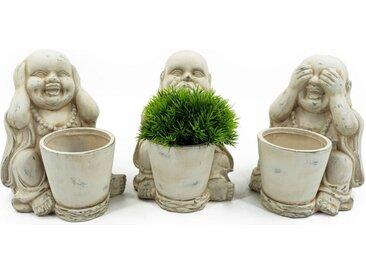 NOOR LIVING Buddhafigur »Buddha, 3-er Set Pflanztöpfe« (Set, 3 Stück)