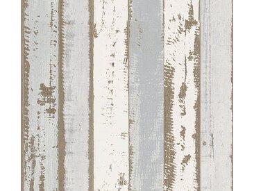 A.S. Création Vinyltapete, Tapeten Holzoptik Grau Papier 302581 Wandtapete Rustikal Holzoptik