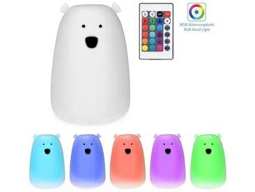 Navaris LED Nachtlicht, LED Nachtleuchte Bär Design - Fernbedienung Micro USB Kabel - Süße RGB Farbwechsel Kinder Nachttischlampe - Eisbär Schlummerlicht