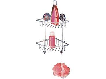 WENKO Duschablage »Bari«, Eckregal, 2 Ablagen und 2 Haken, Vacuum-Loc, silberfarben, chrom
