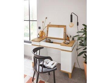 INOSIGN Schminktisch »Rula«, mit aufklappbarem Spiegel, Push-to-open-Funktion, weiß, weiß-éiche natur
