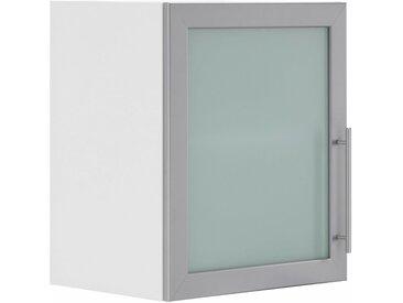 wiho Küchen Glashängeschrank »Cali« mit alufarbener Glasrahmentür, weiß, Weiß