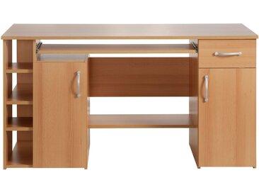 Schreibtisch »Tim«, mit 5 Fächern und Tastaturauszug, natur, buchefarben