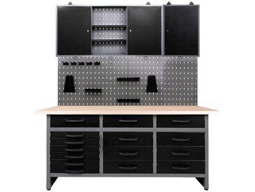 ONDIS24 Werkstatt-Set 160 cm, schwarz, 85 cm, anthrazit/schwarz-grau