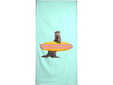 Juniqe Handtuch »Surfing Otter« (1-St), Weiche Frottee-Veloursqualität