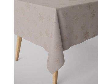 SCHÖNER LEBEN. Tischdecke » Tischdecke Ice Star Schneeflocken Eiskristalle beige goldfarbig verschiedene Größen«, handmade
