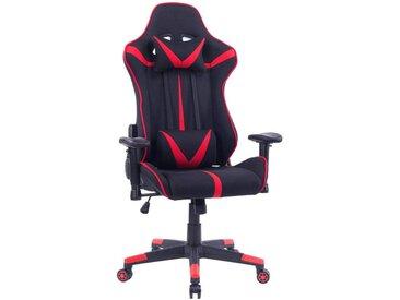 Woltu Gaming-Stuhl Bürostuhl aus Stoffbezug mit Kopf und Lendenkissen, rot, rot