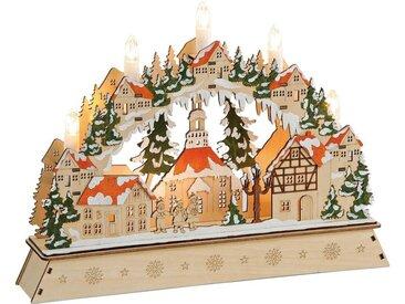 matches21 HOME & HOBBY Adventsleuchter »Schwibbogen 3-fach 3D Lichterbogen Dorf, Tannenbäume«
