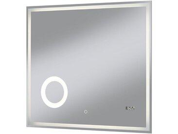 welltime WELLTIME Badspiegel »Flex«, 80 x 70 cm, LED-Beleuchtung, Uhr, Vergrößerungsspiegel, silberfarben, 80 cm, silberfarben