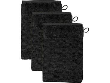 Möve Waschlappen »MÖVE Bamboo Luxe 3er Set Waschhandschuh« (3-tlg), mit seidig glänzenden Bordüren, schwarz, black