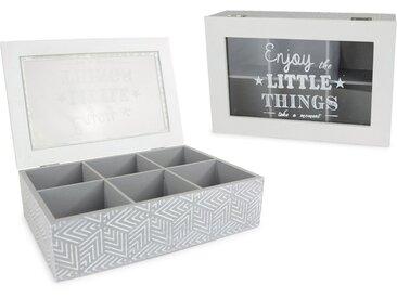 Aufbewahrungsbox, mit 6 Fächern und Schriftzug, grau, grau-weiß-transparent