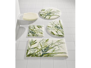 Grund Badgarnitur mit Gräser-Design, weiß, weiß/grün
