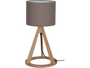 SPOT Light Tischleuchte »Konan«, Dekorativer Leuchtenfuß aus edlem Eichenholz, hochwertiger Textilschirm, mit Schnurschalter An/Aus