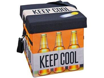 ebuy24 Aufbewahrungsbox »Fabo Aufbewahrungsbox Kühltasche, Hocker, mit Deck«, schwarz, weiss, orange