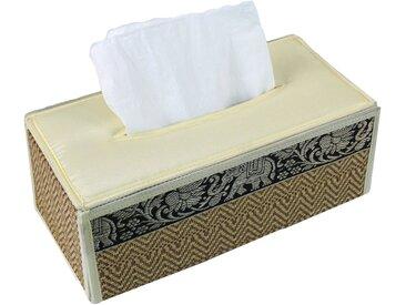 Guru-Shop Aufbewahrungsdose »Kosmetiktücher Servietten Box aus Rattan in..«, braun, weiß-braun