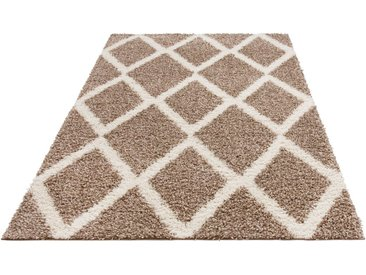 my home Hochflor-Teppich »Linz«, rechteckig, Höhe 31 mm, dichter Flor, Rauten Design, natur, beige-weiß