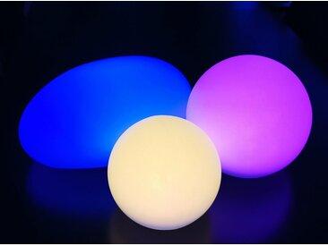 TRANGO LED Solarleuchte, SO-00234 3er Set LED Solar-Leuchtkugel IP44 Solar Leuchtstein in 25/30/40cm Durchmesser Weiß matt mit 3000K warmweiß LED & RGB Farbwechsel LED *SNOWY* Solarkugel Kugelleuchte, Außenleuchte