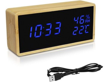 Navaris Wecker Bambus Digitalwecker - Luftfeuchtigkeit Temperatur Anzeige - Dimmer - 3 Alarmfunktionen - Acryl Display - Digitaluhr