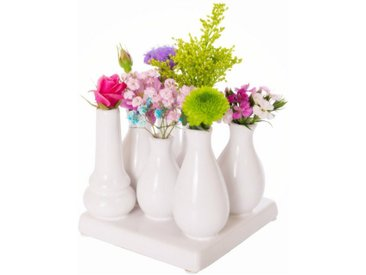 Jinfa Dekovase »® Blumenvasen-Set, verschiedenen Farben und« (7 Vasen Set, quadratisch, weiß, 7 vasen quadratisch), weiß, Cube weiß, Weiß