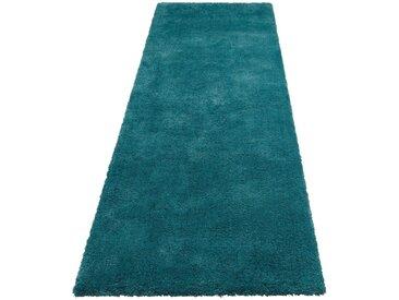 my home Hochflor-Läufer »Magong«, rechteckig, Höhe 25 mm, Besonders weich durch Microfaser, blau, petrol