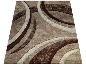 Paco Home Teppich »Brillance 758«, rechteckig, Höhe 18 mm, Kurzflor mit geometrischem Design, braun, braun