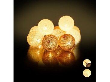 relaxdays LED-Lichterkette »LED Lichterkette mit 10 Kugeln«, Weiss-braun