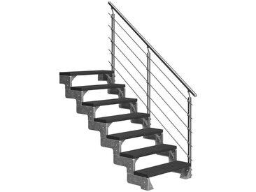 Dolle DOLLE Außentreppe »Gardentop«, für Geschosshöhen bis 154 cm, TRIMAX®-Stufen 100 cm, silberfarben, gerade, silberfarben