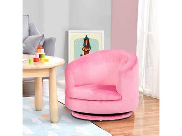 COSTWAY Sofa »Kindersessel«, 360°drehbar, Kindersofa Mädchen, kindercouch Flanell kindermöbel Minisofa Drehsofa rosa