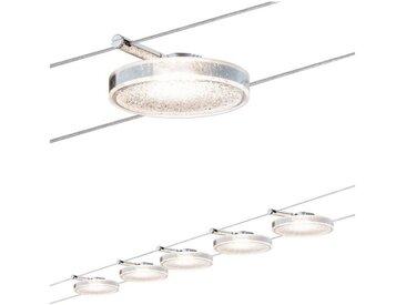 Paulmann LED Deckenleuchte »Wohnzimmerlampe LED 5x4W DiscLED II 230V/12V DC Chrom«, Seilsystem, 5-flammig