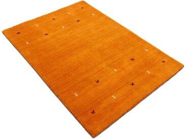 carpetfine Wollteppich »Gabbeh Uni«, rechteckig, Höhe 15 mm, reine Wolle, handgewebt, Gabbeh Tiermotiv, Wohnzimmer, orange, orange