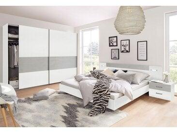 Wimex Schlafzimmer-Set »Angie«, (Set, 4-tlg), weiß, Set mit Schwebetürenschrank Breite 225 cm, weiß-betonfarben lichtgrau