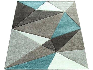 Paco Home Teppich »Lara 237«, rechteckig, Höhe 18 mm, Kurzflor mit Konturenchnitt, blau, türkis