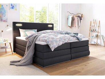 COLLECTION AB Boxspringbett »Rubona«, inkl. Bettkasten, LED-Beleuchtung und Topper, grau, Bettkasten links und rechts
